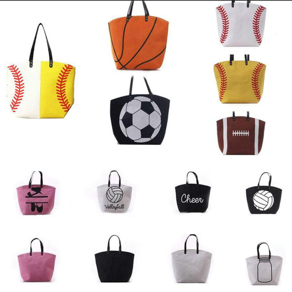 18 styles Canvas Bag Baseball Tote Sports Bags Fashion Softball Bag Football Soccer Basketball Cotton Canvas Outdoor Bags 10pcs