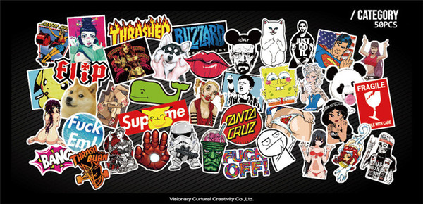 50 unids Funny Car Stickers en Motocicleta Maleta Teléfono Cubiertas Del Ordenador Portátil DIY Vinyl Sticker Sticker JDM Car styling