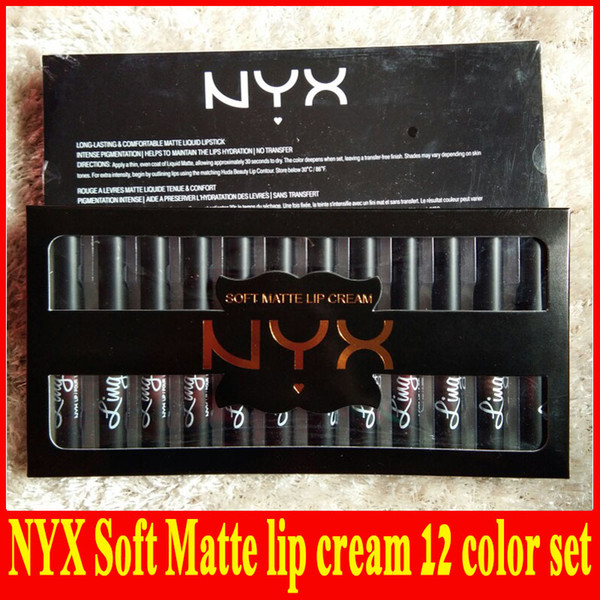 Factory direct hot NYX soft matte Lip cream Cream LipGloss Lipstick Vintage Long Lasting NYX Lip lingerie 12 color DHL free shipping +gift