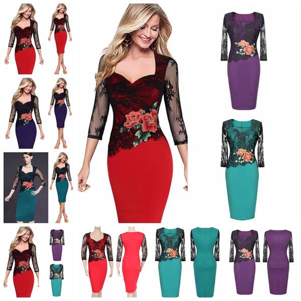 Tempérament élégant couleur unie col sept manches robe en dentelle mince jupe crayon rouge, violet, vert support lot mixte