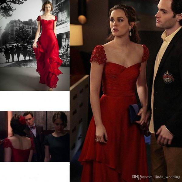Dedikoducu Kız Leighton Meester Kırmızı Renk Abiye Yeni Seksi Şifon Uzun Örgün Parti Kıyafeti Celeybrity Elbise