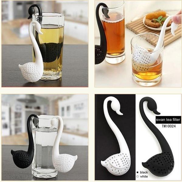 top popular New Nolvety Gift Swan Spoon Tea Strainer Infuser Teaspoon Filter Creative Plastic Tea Tools Kitchen Accessories 2019