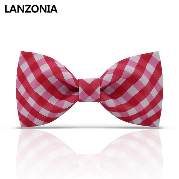 Lanzonia Funky Red And White Plaid Patterned Bow Tie For Men Unique Wedding Novelty Neckwear Women Funny Cool Bowtie