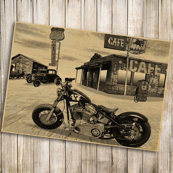 Vintage Poster Retro Old Route 66 Motorcycle Painting Living ...