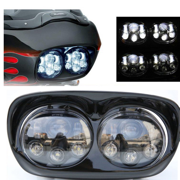 1 Set 90w Dual LED Projector Headlight Bulb Assembly High Low Beam for Harley Road Glide