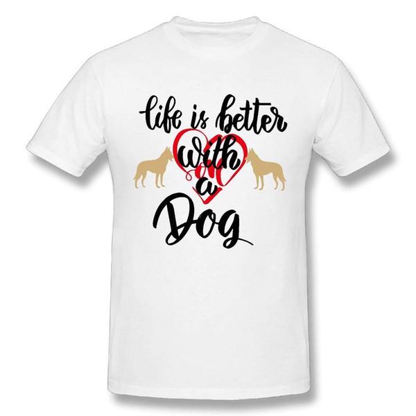 Erkek Hayat Bir Köpek Ile Daha Iyi% 100 Pamuk Baskılar Rahat Kısa Kollu Tee Düşük Fiyat Yuvarlak Boyun Erkekler Tees Nefes