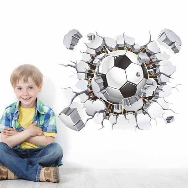 Free shipping Wholesale flying football through wall stickers kids room decoration diy home decals soccer funs gift 3D mural art sport game