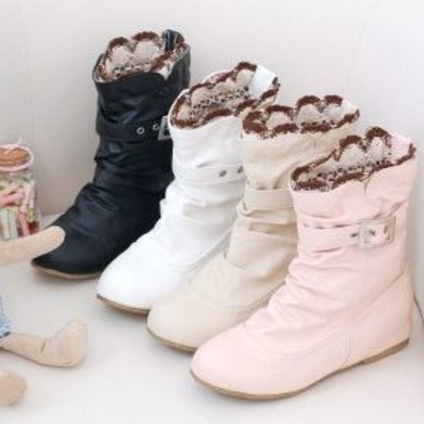 Lady Shoes For Women PU With Buckle Lace Within Increase Woman White Black Pink Beige Short Boots 34-44 Code Free Shipping