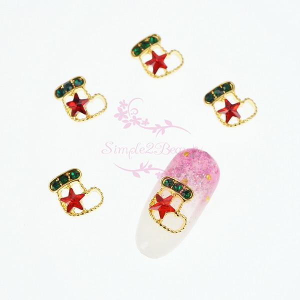 100 adet / grup 3D Sevimli Noel Çorap Oymak Kırmızı Yıldız Kristal Rhinestones Nail Art Manikür Alaşım Charms Takı Dekorasyon Toptan