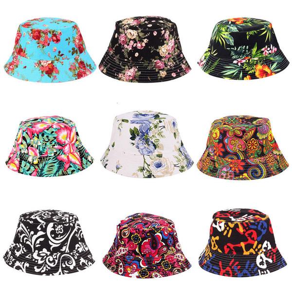 230a04074dd913 Women Hat Caps 2018 Summer Men Bucket Hat Holiday Beach Outdoor Flat Cap  Male Floral Sun