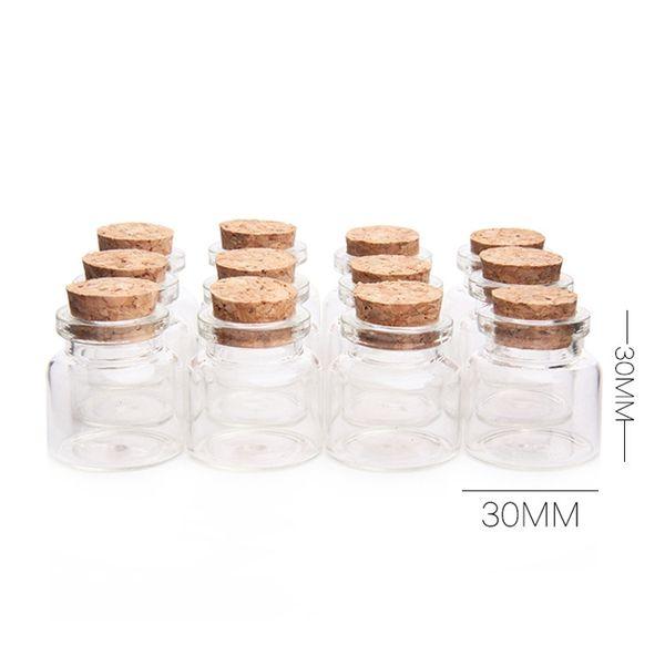 48Pcs Mini Glass Bottles With Cork Wood 10ml Transparent Glass Bottle Jars Vials Clear Drift Bottle 30x30mm Storage Container