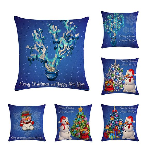 Astonishing New Arrival 45X45Cm Blue Merry Christmas Cushion Cover Square Linen Pillowcase Santa Elk Bell Pillow Cover For Home Sofa Xmas Decor Papasan Chair Onthecornerstone Fun Painted Chair Ideas Images Onthecornerstoneorg
