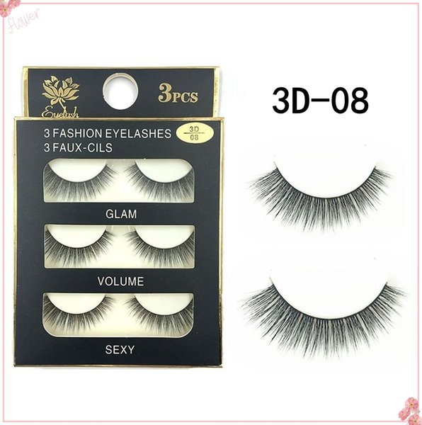 New Stye 3Pairs New 3D Natural Cross thick Curly Messy False Eyelashes long makeup 3D Lashes Fake Eye Lashes Extension Make Up Beauty