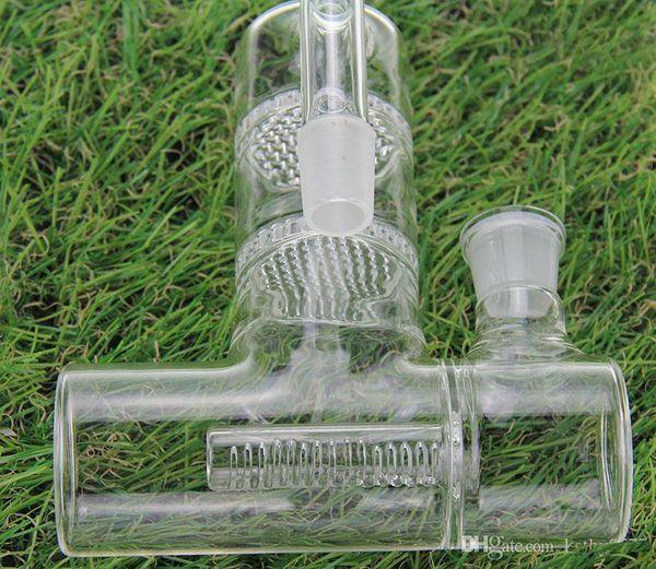 Colector de ceniza de vidrio para tubos de agua de vidrio Bong Tamaño grande Recuperador AshCatcher Lacunaris Inline dos panales Ashcatcher en 18 mm o 14 mm