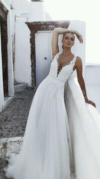 f1559ecd66624f1 2019 дизайнер пляж свадебные платья оболочка глубокий V-образным вырезом 3D  аппликация кружева ленты спинки свадебное платье Свадебные платья Платье  для ...
