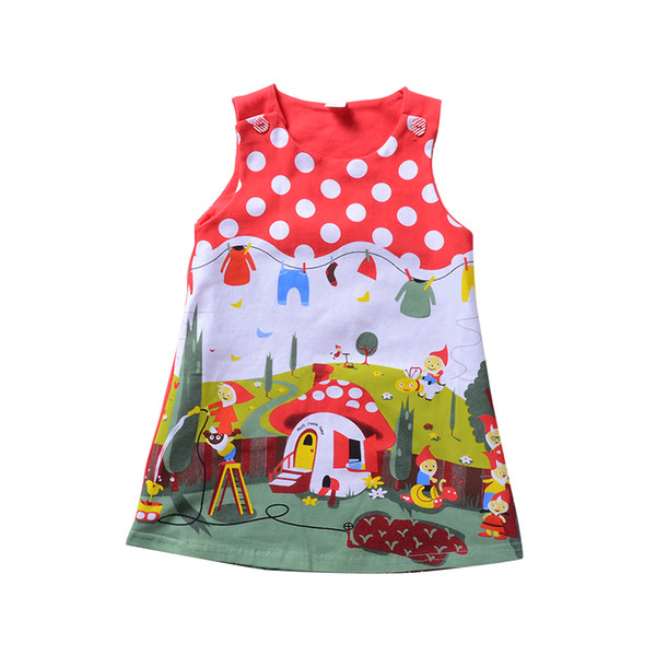 Summer Baby Toddler Enfants Fille Robe Sans manches Dot Robes Casual Enfants Vêtements Vestidos Robe Rouge Tenues Vêtements