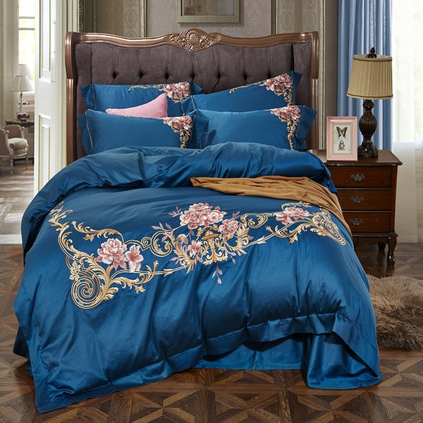 Blue Pink Purple White Red 60S Egyptian Cotton  Flower Embroidery Bedding Set Duvet Cover Bed sheet/Linen Pillowcases 4pcs