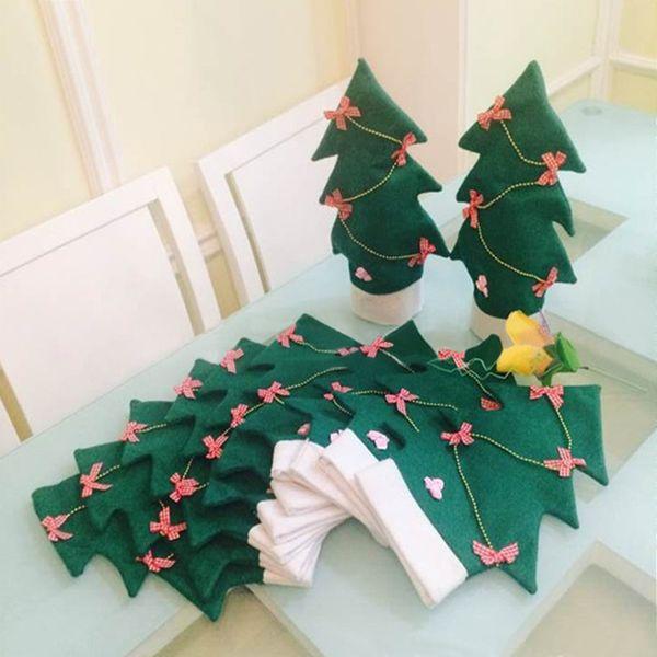 4pcs/lot Christmas Theme Decorations 20*32cm X'mas Tree Design Wine Champagne Bottle Holders Gift Packs Accessories HX544