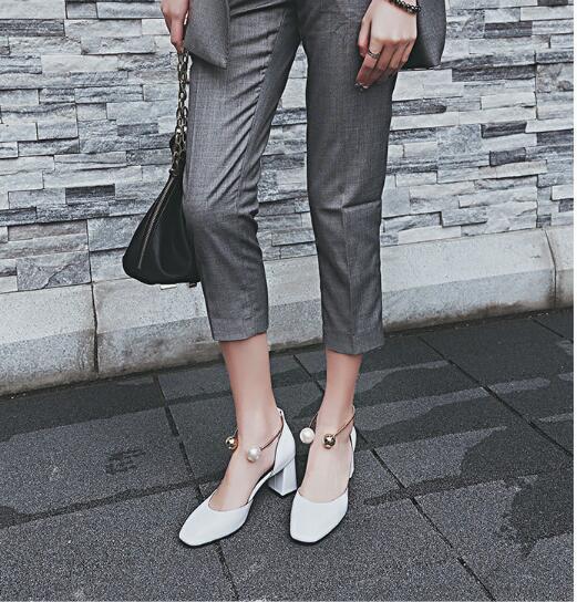 Dames schoenen hot model square toe pearl buckle China fashion plating chunky heel dress shoes for women YonDream-254