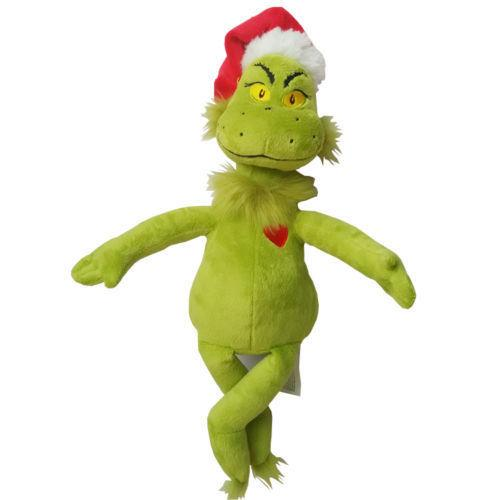 """top popular 15"""" 39cm Dr Seuss How the Grinch Stole Christmas with Santa Hat Plush Toys New Free Shipping High Quality 2019"""