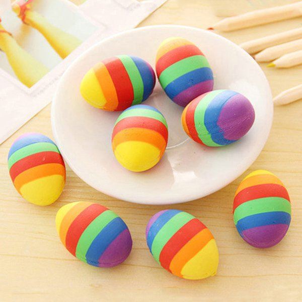 2Pcs Multicolor Stone Egg Shape Soft Rubber Pencil Erasers Stationery Supplies