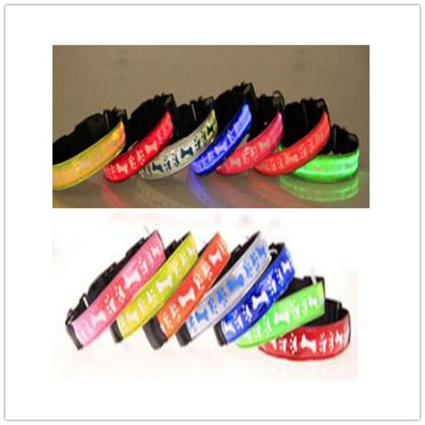 A13 USB Rechargeable pet LED collar pet dog nylon light collar /w Bone & footprints design free shipping