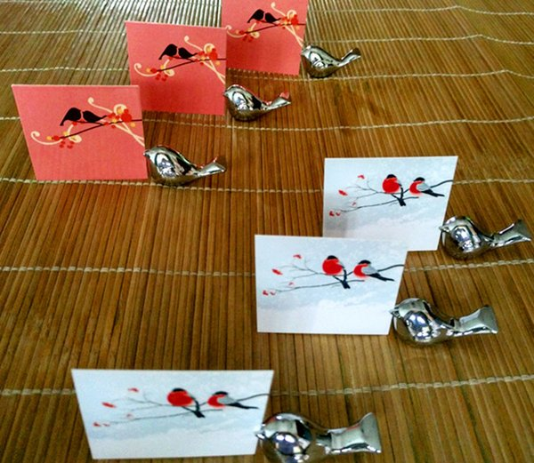 Promotion Sale 10pcs/lot Party Favors Love Bird Card Holder Favors with Brushed Silver Finish Chopstick Holders