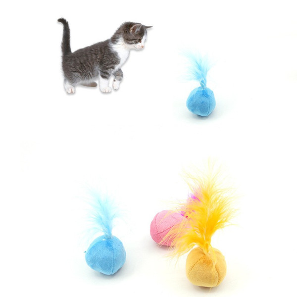 Pet Mini Interactive Catnip Toys Small Bell Ball Sound Cat Plush Feather Chromatic Squeak Fun Toy Supplies 1 8zk hh
