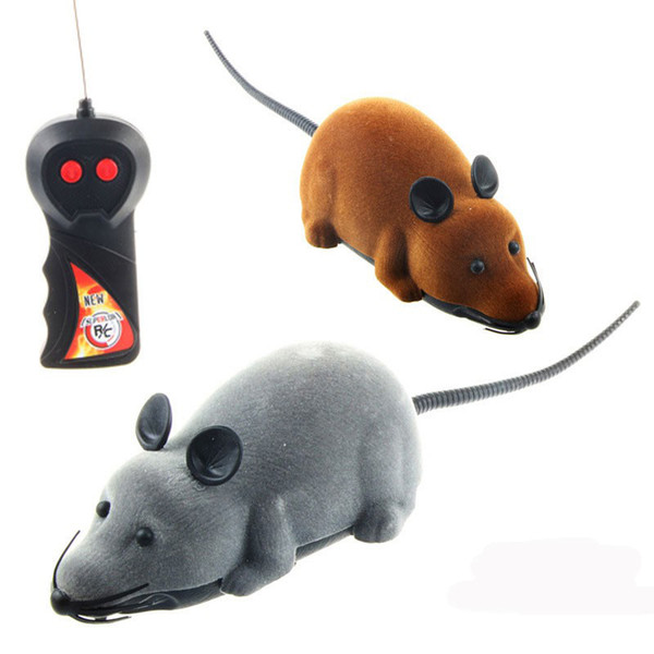 Cat Electric RC Mouse Toys Remote Control Toys Pet Electric Simulation Flocking Mouse Toys 2 Colors