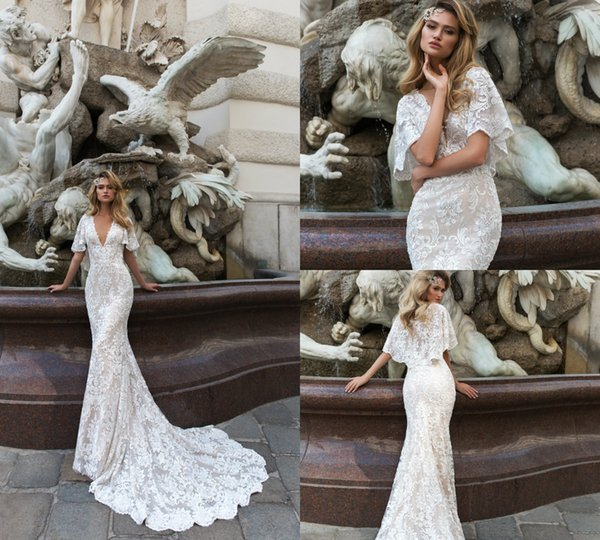 2018 Crystal Design Mermaid Wedding Dresses Deep V Neck Sweep Train Lace Tulle Appliques Bell Sleeve Country Bridal Dress Vestido De Novia