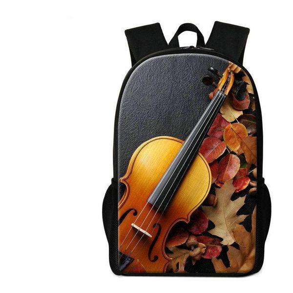 Violin Pattern Children School Bags 3D Musical Note Print Backpack For Primary Kids Mochilas Women Men Travel Shoulder Bag Boys Girls Rugtas
