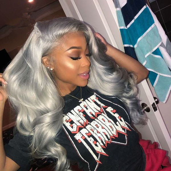 Dark Grey Human Hair Lace Front Wigs Black Women Wavy 130% Density Silver Gray 10A Remy Virgin Hair Lace Frontal Wig Pluck