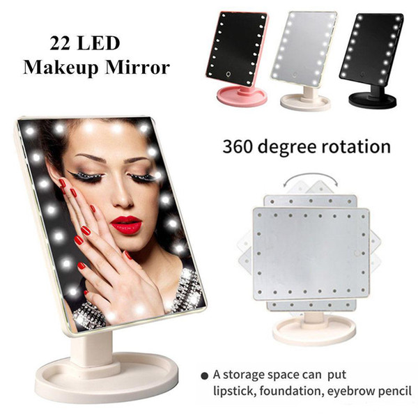 Hot Sale 22 LED USB Lights Table Vanity Makeup Mirror Touch Screen Tabletop Beauty Mirror with Touch Control Switch for home use