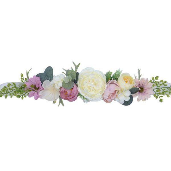 Nueva Bohemia Cinturones nupciales con flores Cristal mujeres Rhinestones Sash Wedding Party Bride Bridesmaid Satén Cinturón Vestido Decoración