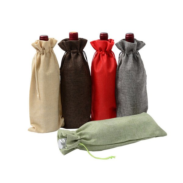 Jute Wine Bottle Covers Champagne Wine Blind Packaging Gift Bags Pouch Burlap Packaging Bags Wedding Party Christmas Decoration 15X35CM