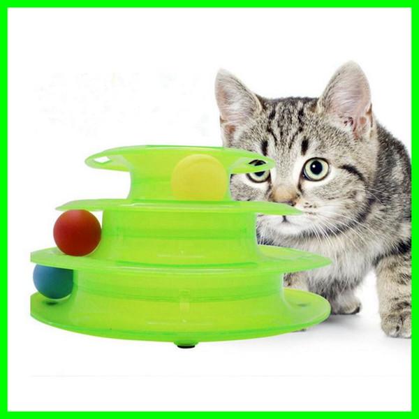 Komik Pet Kedi Oyuncaklar Çılgın Trilaminar Turntabl Topu Diskler Evcil Interaktif Eğlence Plaka Oynamak için Diskleri