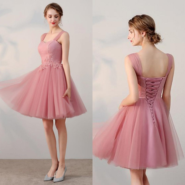 2019 Cheap Short Prom Dresses Lace Tulle Homecoming Dress Sweetheart Straps Lace-up Corset Back Graduation Party Gowns Custom Made