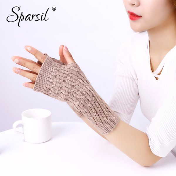 Sparsil Women Fingerless Knit Cashmere Gloves Half Finger Wrist Arm Protect Wool Mittens Autumn Winter Twist Warm Long Glove22cm D18110806
