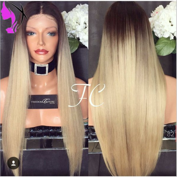 Hot blonde ombre long straight synthetic lace front wigs with dark roots natural blonde hair heat resistant fiber hair for black women