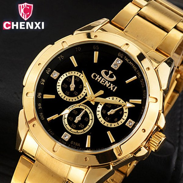CHENXI Luxury Gold Men's Watches Unique Business Dress Wristwatch for Man Woman Lover's Clock Golden Waterproof Male Female 019A Y1892107
