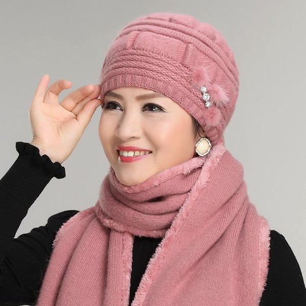 Thick rabbit fur knit cap scarf twinset the elderly women's autumn and winter yarn female winter hat perimeter scarves windproof