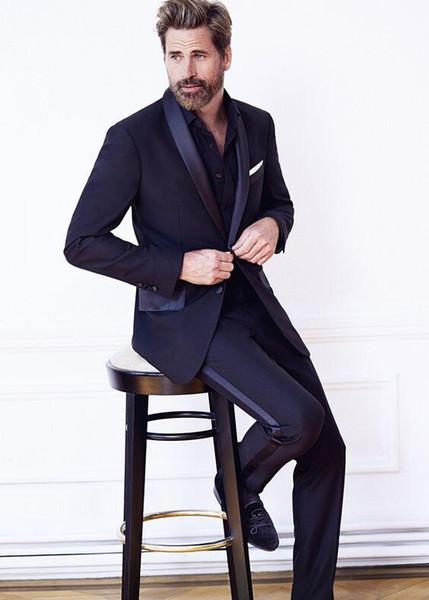 Latest Coat Pant Designs navy blue men suit satin shawl lapel men tuxedos suit for wedding evening party stage show jacket+pants