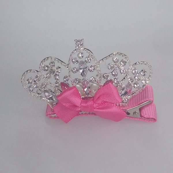 2018 New Hair Jewelry, Kids Hair Accessories,Shiny Crown Girl's Hairpin,Pink Bow Hair Clip A306