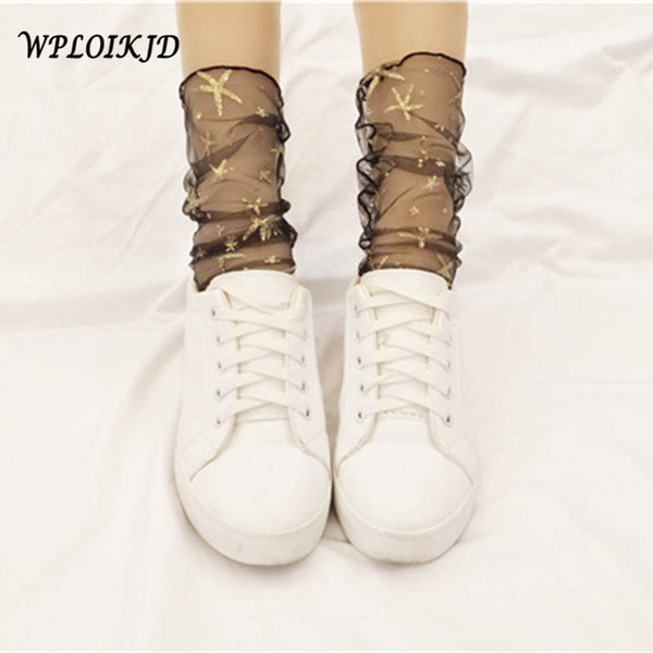 [WPLOIKJD]Transparent Handmade Socks Starry Sky Sequins Shining Gold Silk Silver Mesh Socks Heap Heap Ultra-thin Women Calcetine