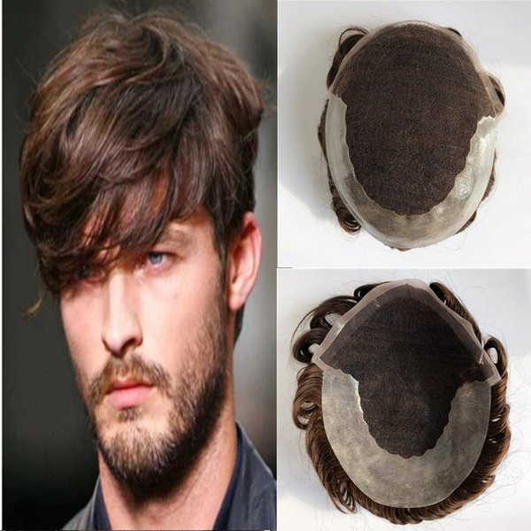 Swiss Lace Toupee For Men Lace Front With Poly Back Mens Toupee Replacement Systems Brown Wave Hairpieces Human Hair Men Wigs Many Sizes