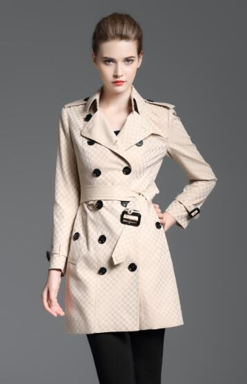 New design! women fashion England long style winter trench coat/brand designer small check slim fit trench for women size S-XXL B8358F340