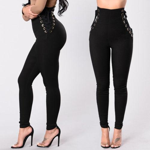Womens solid lace up Leggings high waist Long Skin Pants casual women Trousers