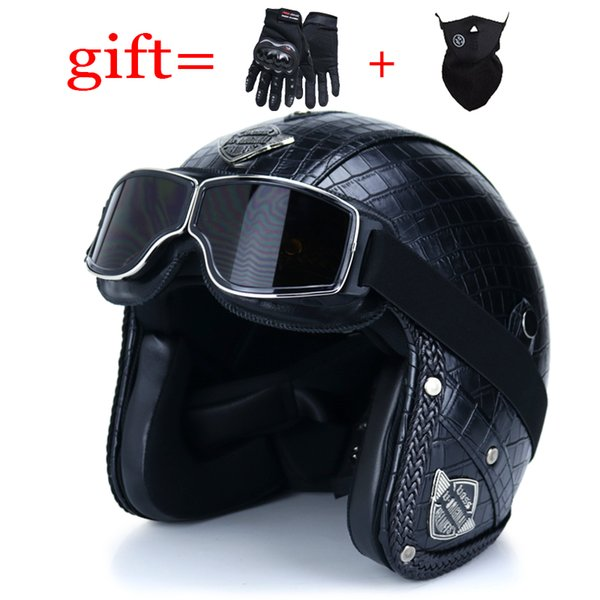 Motorcycle helmet open face retro Harley helmet PU leather 3/4Casque Casco half jet scooter punk cafe DOT approved