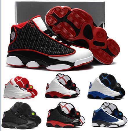 13s Bred basketball shoes for kids and Youth J 13 Black cats History of Flight Sports sneaker boy and girl children athletic footwear