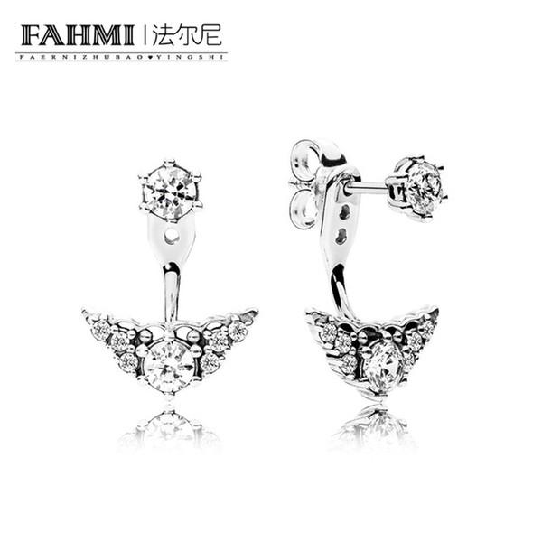 FAHMI 100% Sterling silver 1:1 Glamour 296228CZ FAIRYTALE TIARA EARRING STUDS Original Women wedding Fashion Jewelry 2018